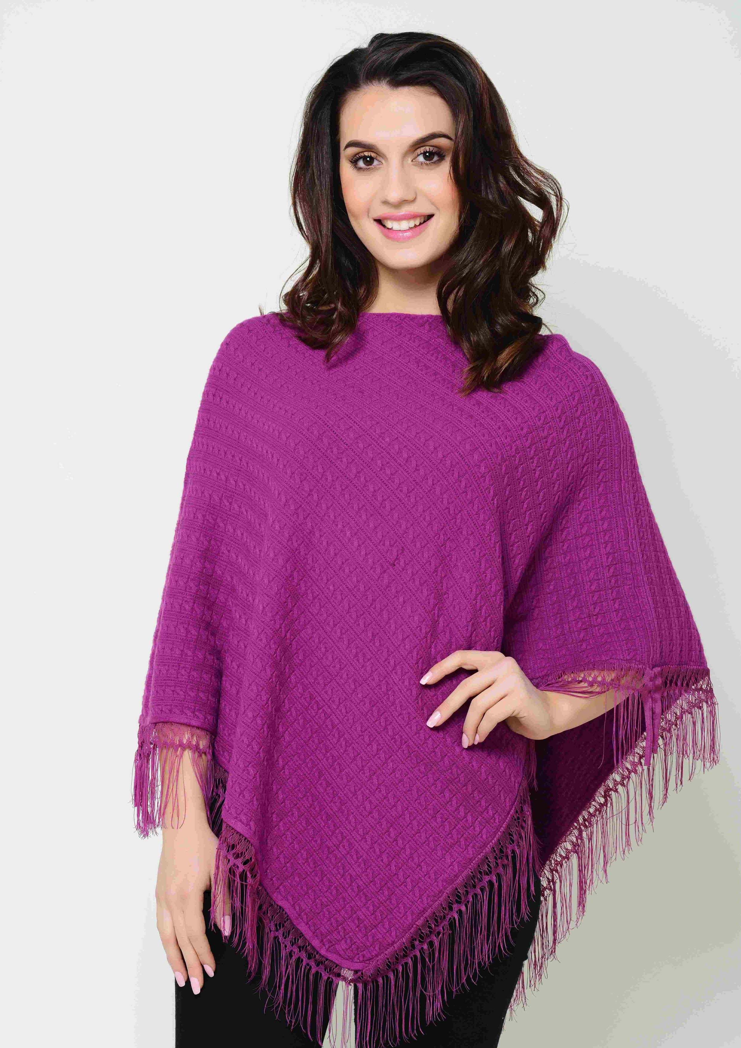 Cable Knit Cape With Lace Trim