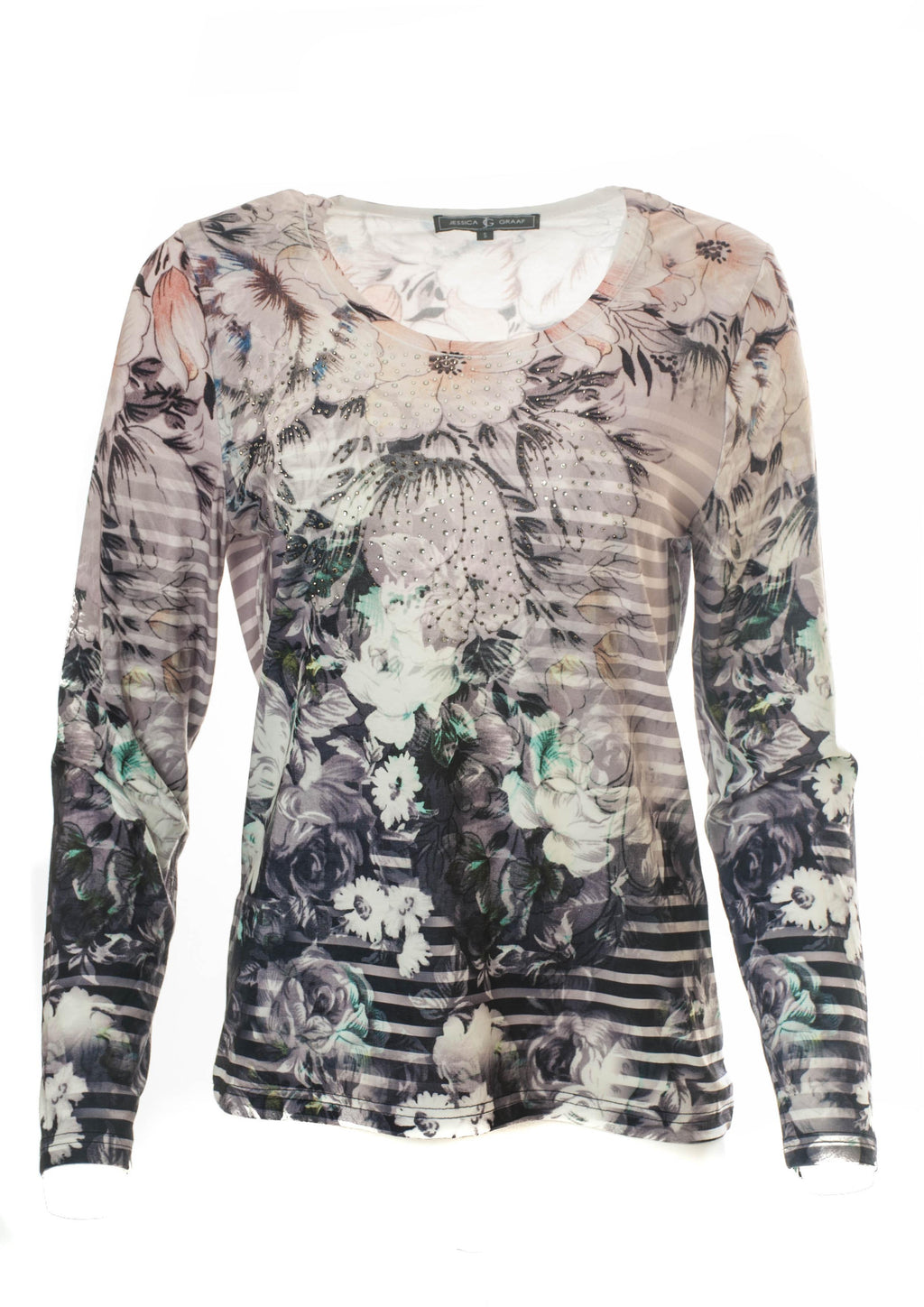 FADED FLORAL & STRIPE LONG SLEEVE T-SHIRT