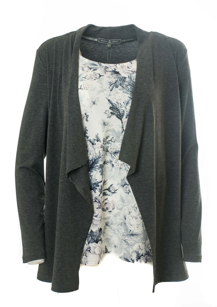 2-IN-1 CARDIGAN WITH PRINTED TOP