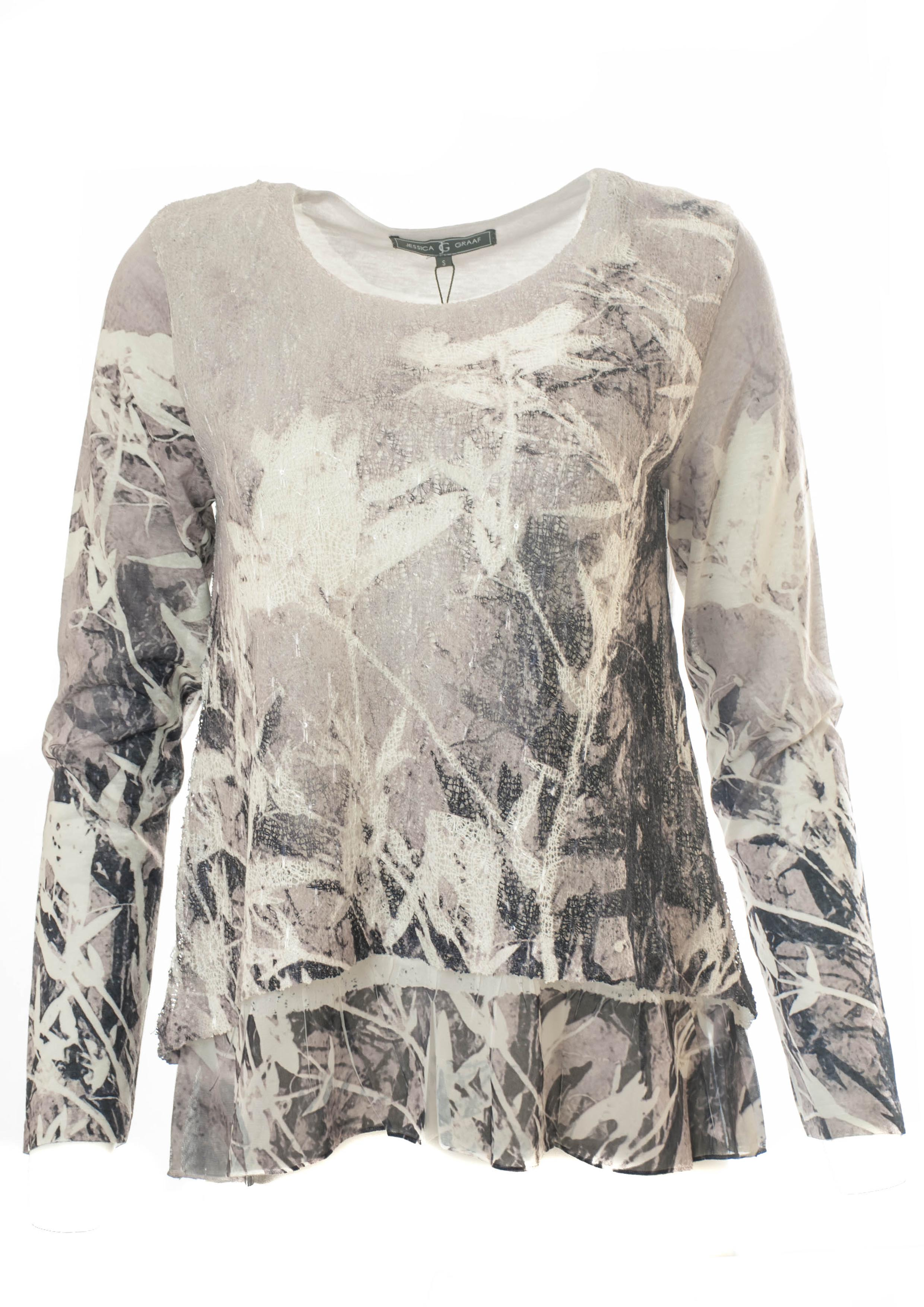 LAYERED PRINTED MESH TOP WITH CHIFFON