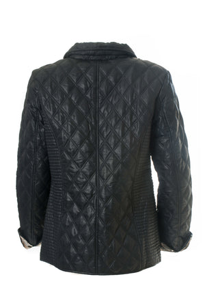 Diamond Quilt Jacket With Print Lining