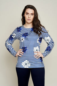 PLACEMENT FLORAL STRIPE TOP