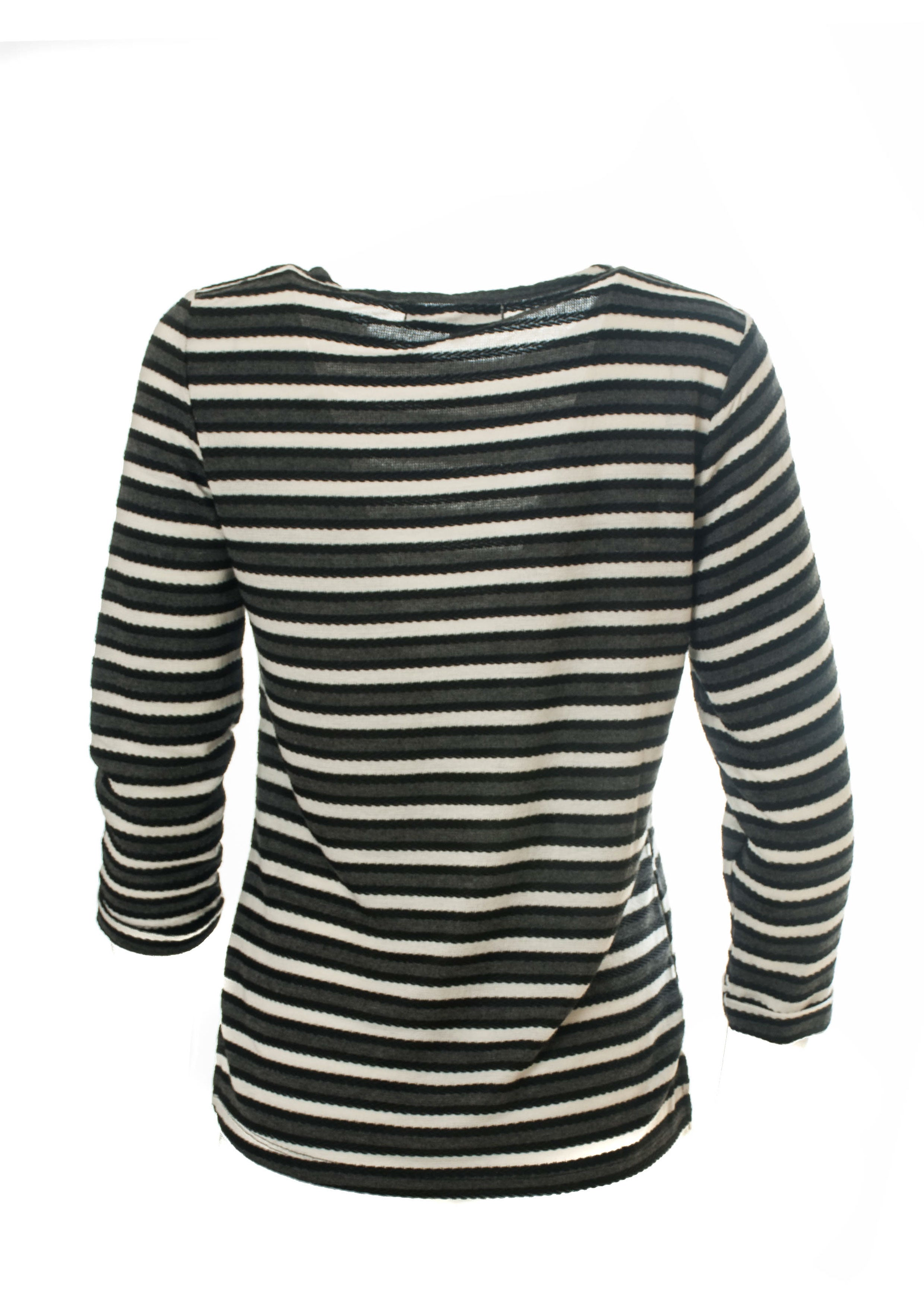 Yarn Dyed Textured Stripe Top With Roll Cuff