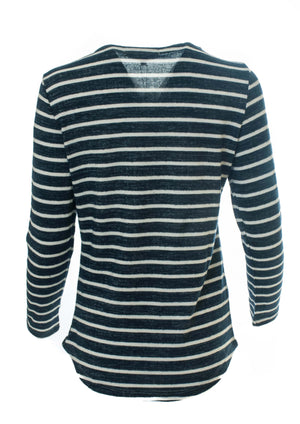 Yarn Dyed and Brushed Stripe Long Sleeve Top