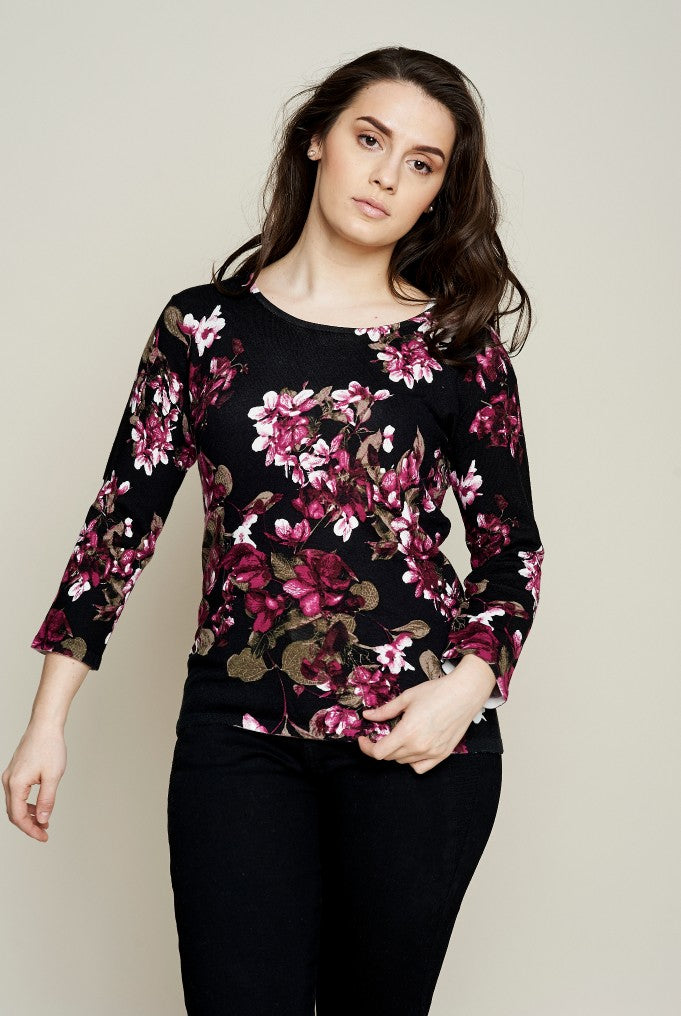 ALL OVER FLORAL PRINT SWEATER
