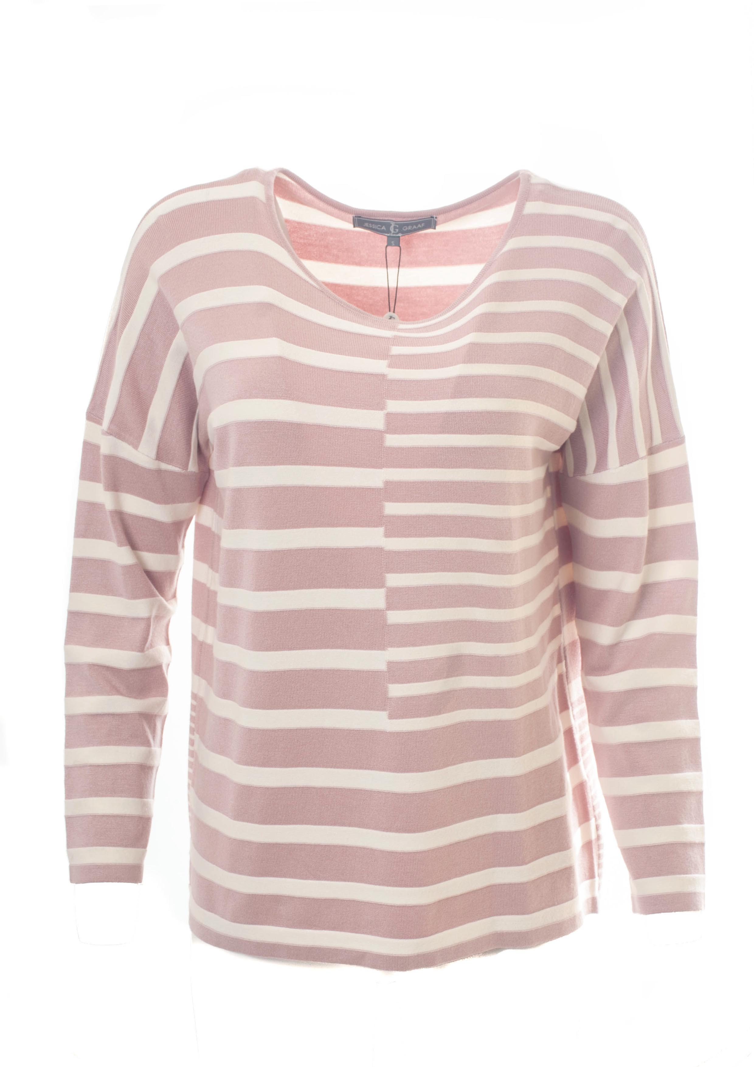 STRIPED INTARSIA DROPPED SHOULDER SWEATER