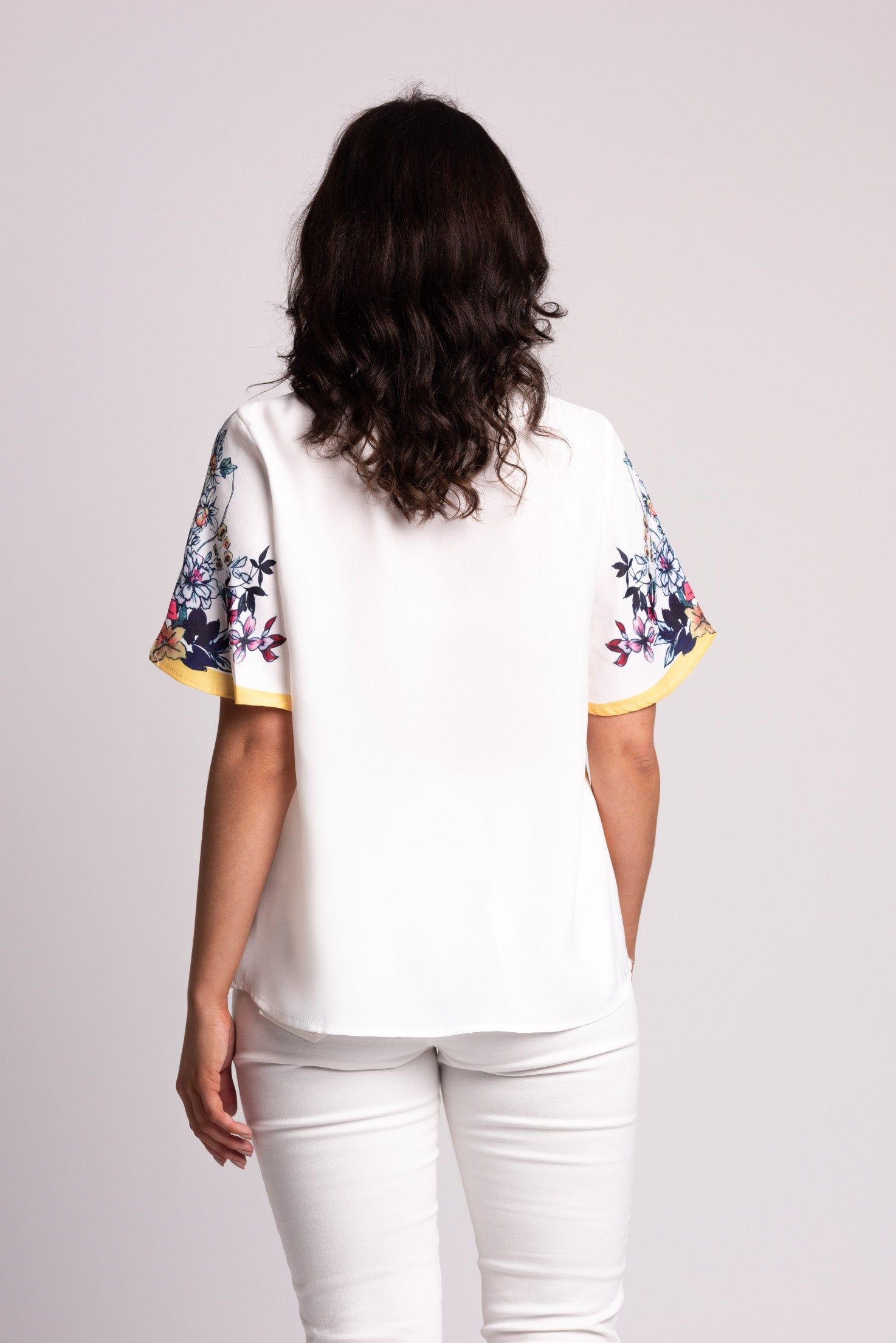 Border Print Satin-back Top