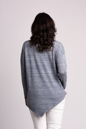 ASYMMETRIC HEM MARBLED SWEATER
