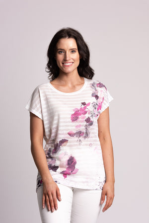 Textured Stripe & Floral Print T-shirt With Diamantes