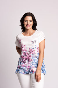Textured Stripe Floral T-shirt With Diamantes