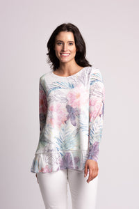 Layered Mesh Top With Floral Print and Chiffon Hem