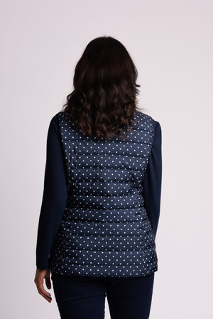 SPOT PRINT GILET WITH LINEAR QUILT