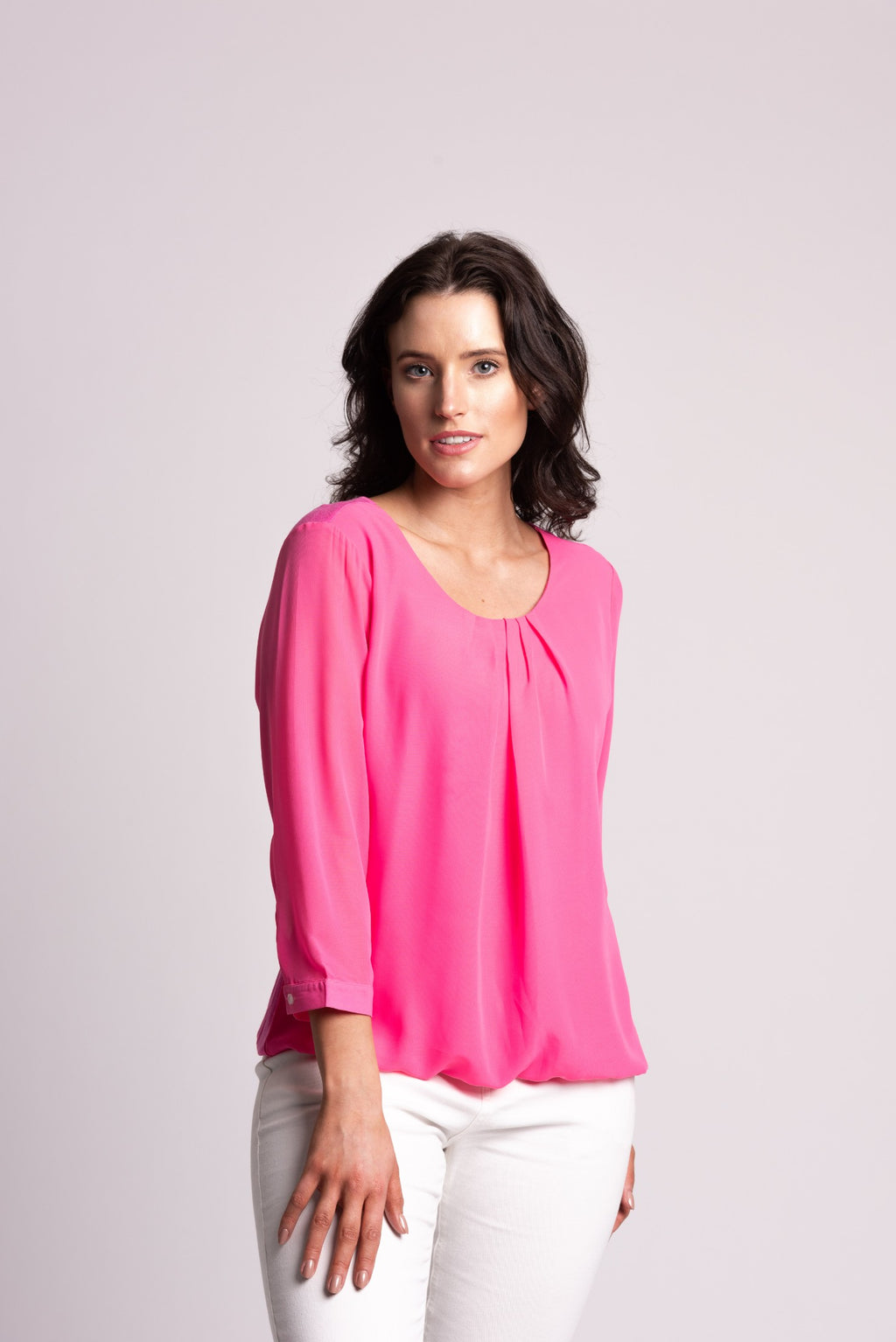 JERSEY TOP WITH CHIFFON OVERLAYER