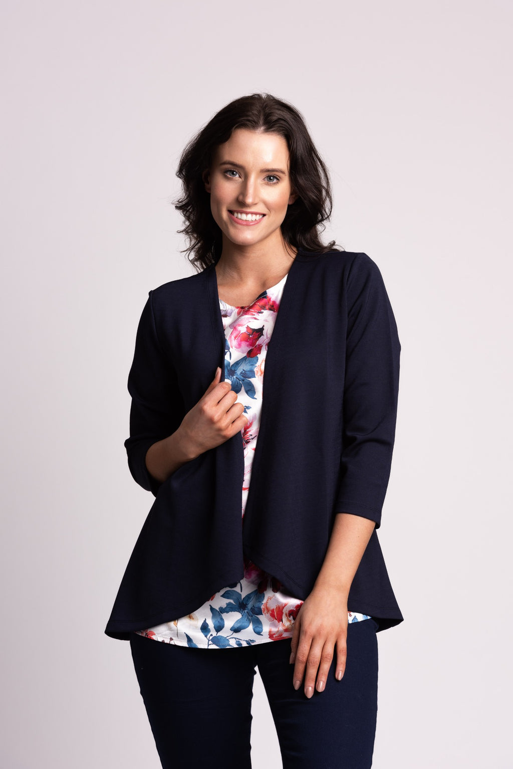 2-in-1 cardigan with satin floral inner