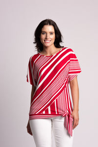 Asymmetrical Stripe Side-tie Top
