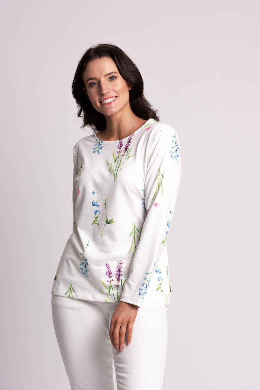 BOTANICAL PRINT LONG SLEEVE TOP