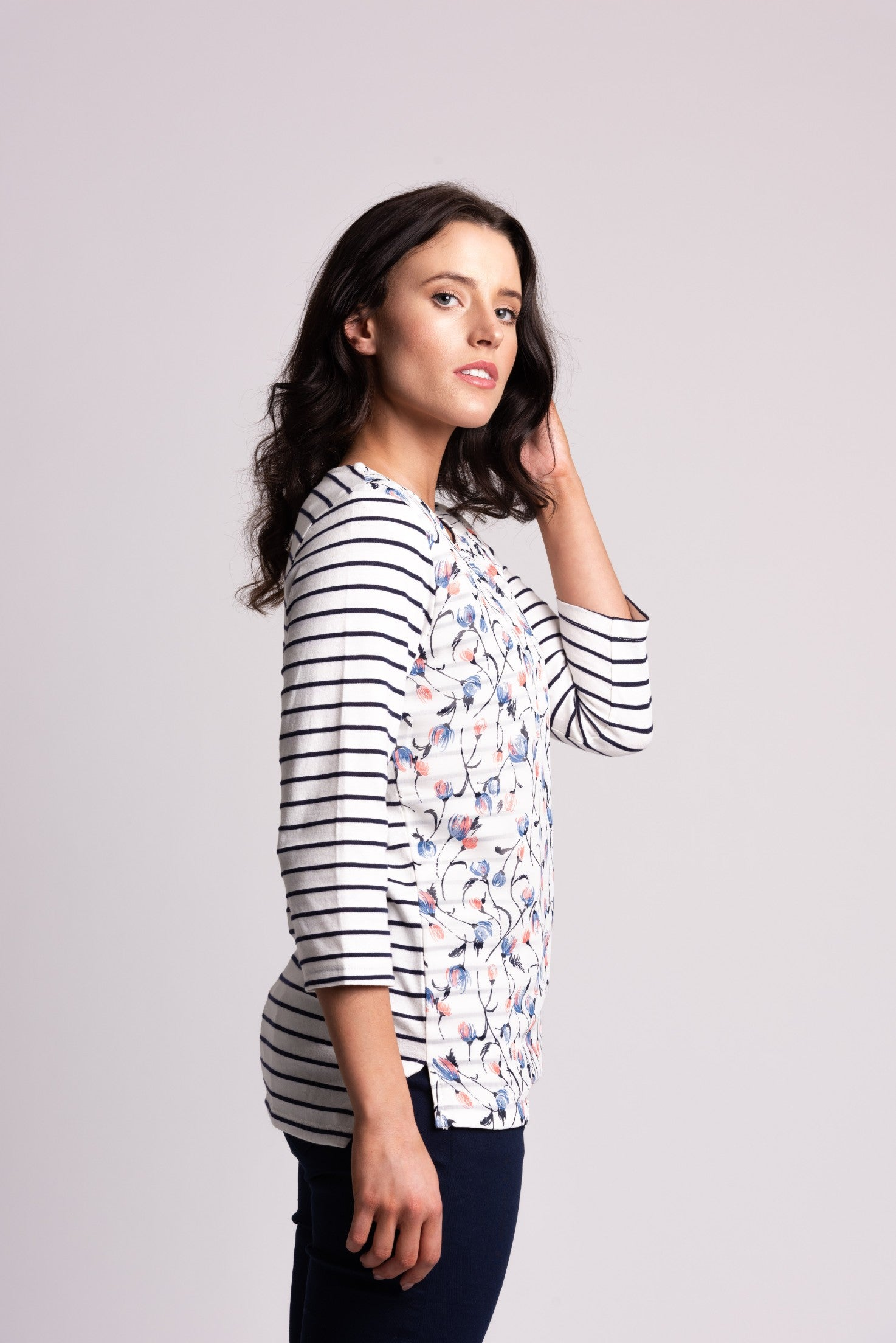 Stripe Top With Floral Chiffon Overlayer