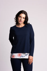 Double Layer Jersey Top With Floral Insert