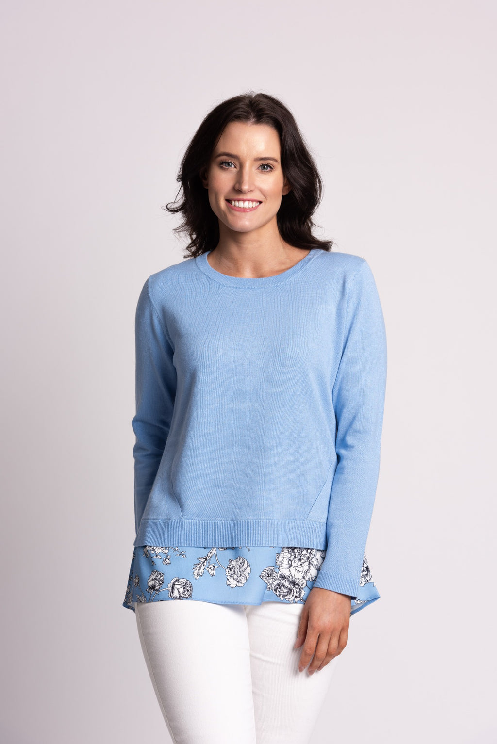 SWEATER WITH PRINTED WOVEN BACK & HEM