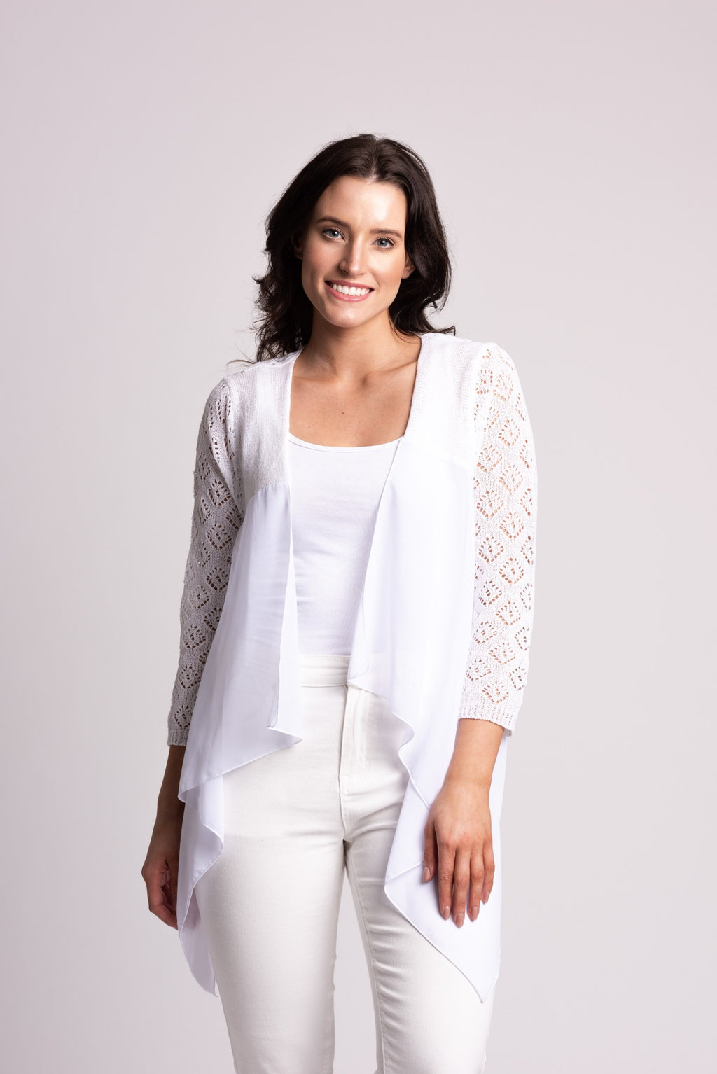 TEXTURED CARDIGAN WITH LACE AND CHIFFON