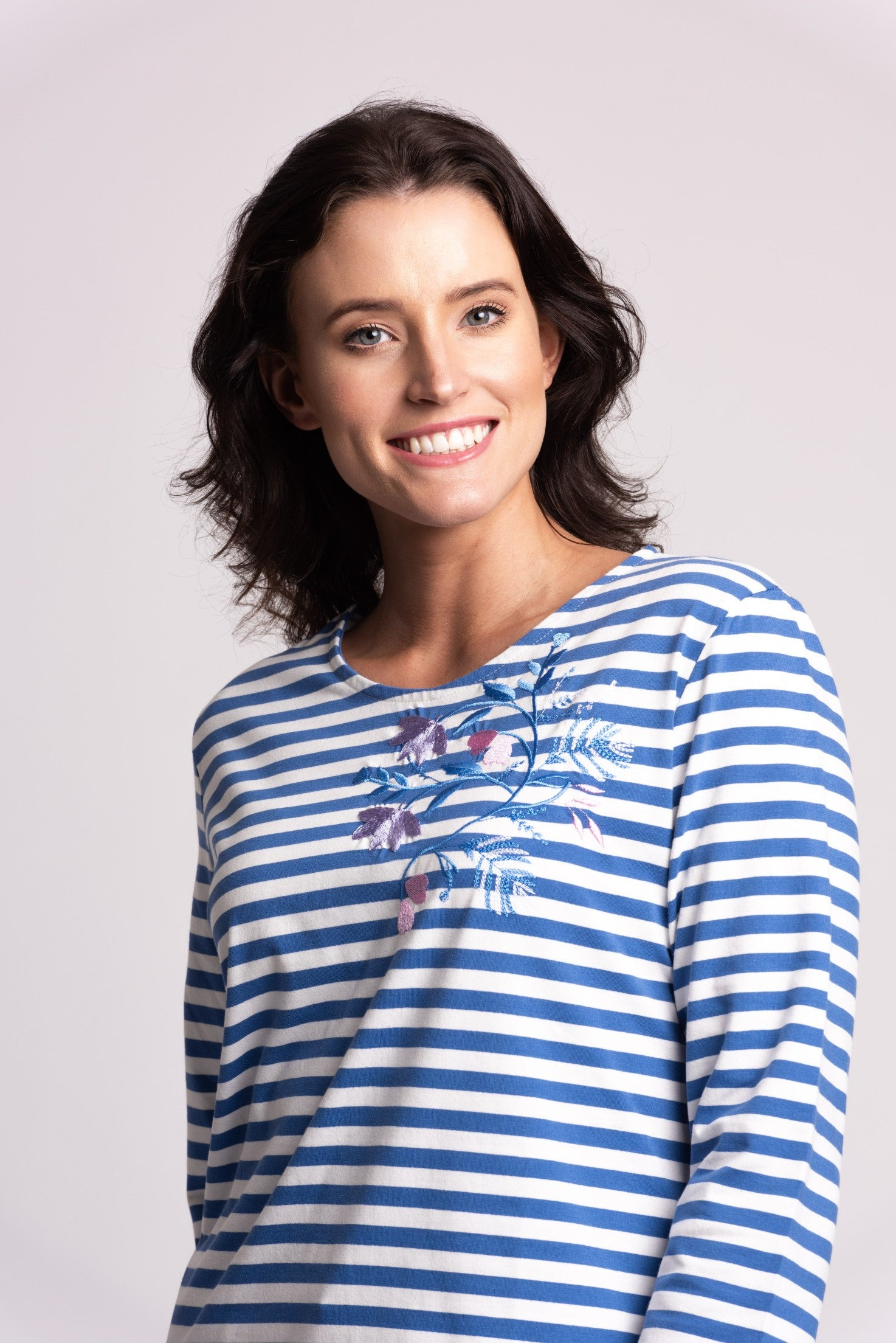 Stripe Top With Embroidery