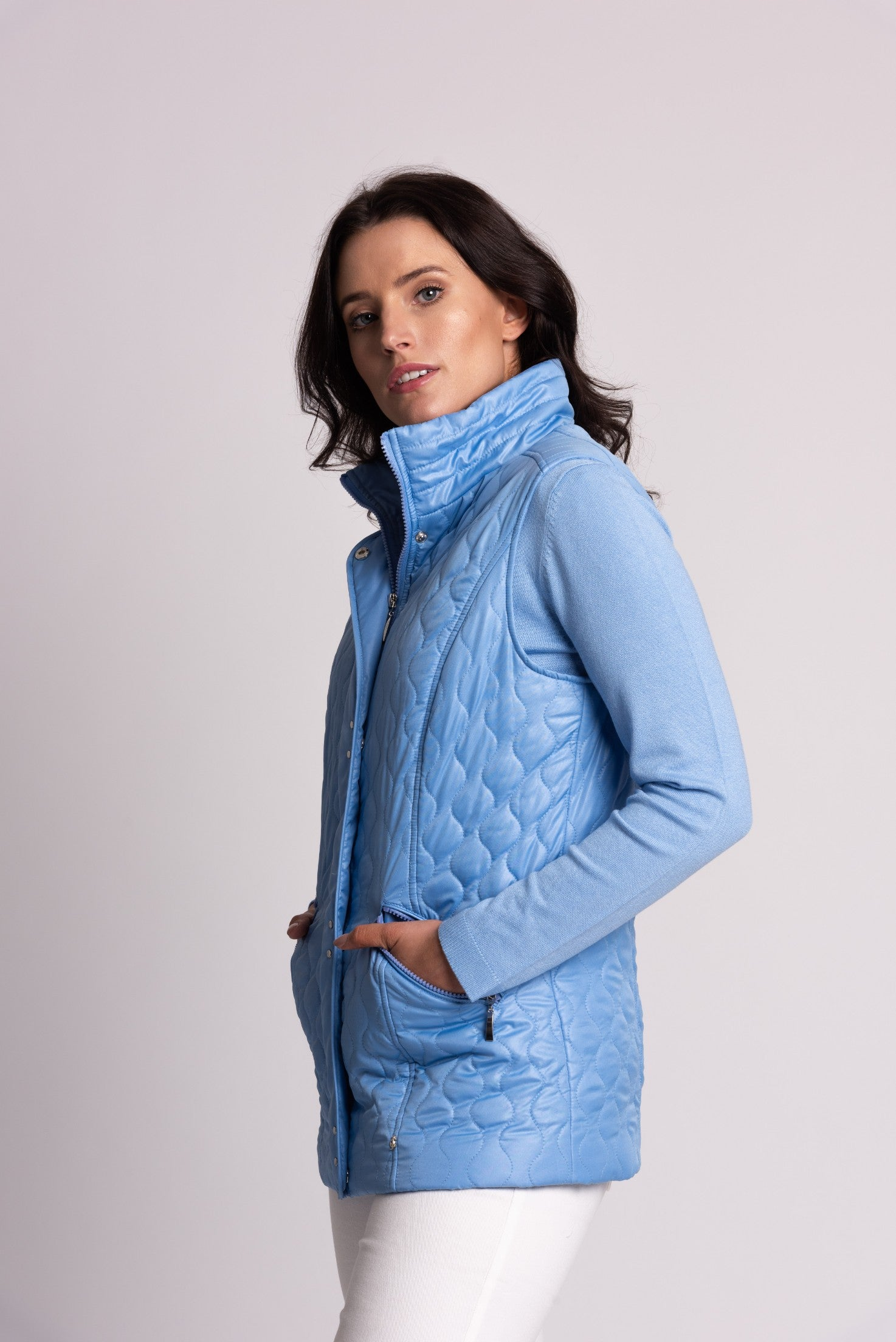 QUILTED GILET WITH STUD DETAIL