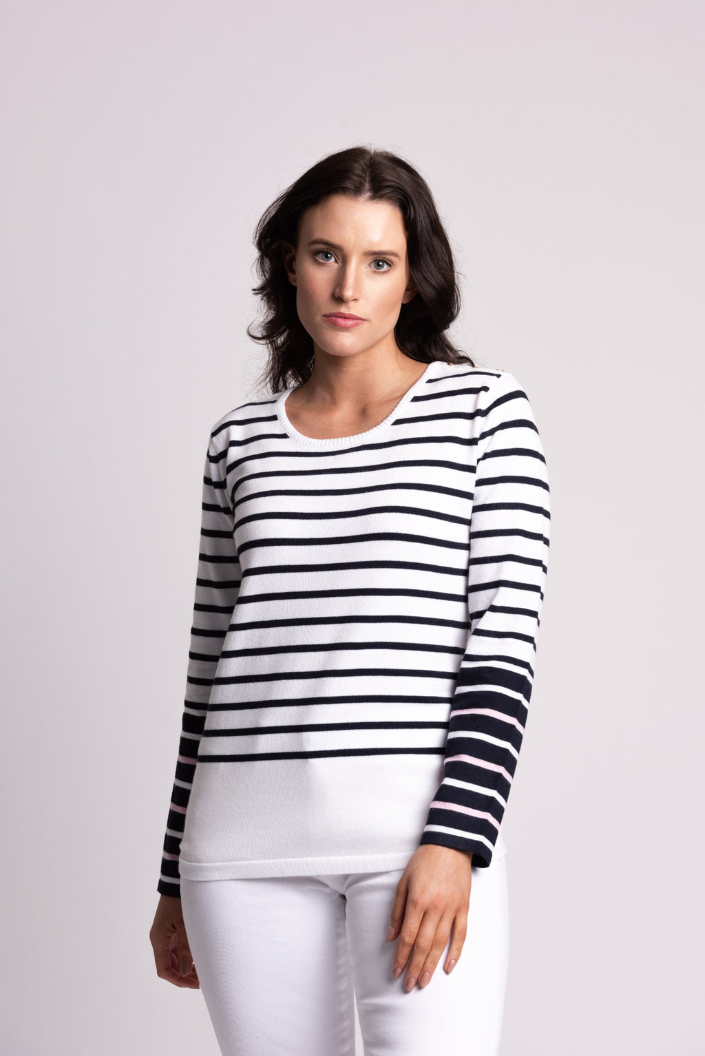 STRIPE SWEATER WITH BUTTON DETAIL