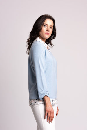 Jersey Top With Chiffon Floral Shirt Collar