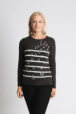 ANIMAL AND STRIPE INTARSIA SWEATER