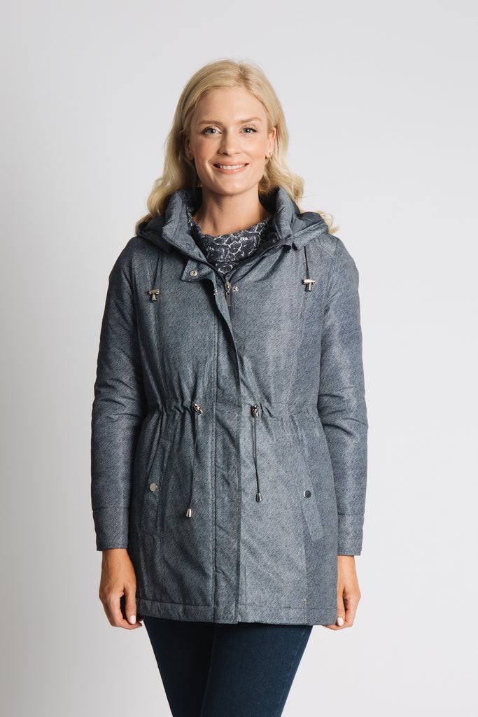 DENIM PRINT PADDED PARKA WITH DRAWSTRING WAIST, HOOD AND QUILTING LINING