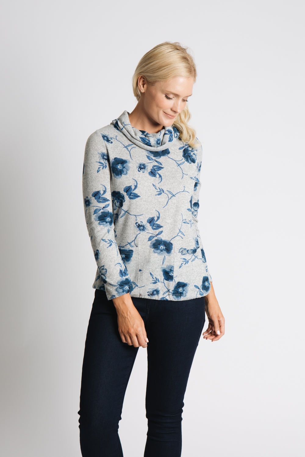 PRINTED JERSEY COWL NECK CASUAL TOP WITH PATCH POCKETS AND DRAWSTRING HEM