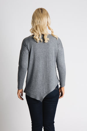 Asymmetric Hem pearl bead sweater