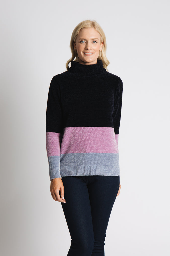 CHENILLE COLOUR BLOCK SWEATER WITH TURTLE NECK