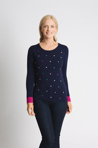 EMBROIDERED MULTI-COLOURED SPOT SWEATER WITH COLOUR BLOCK CUFF