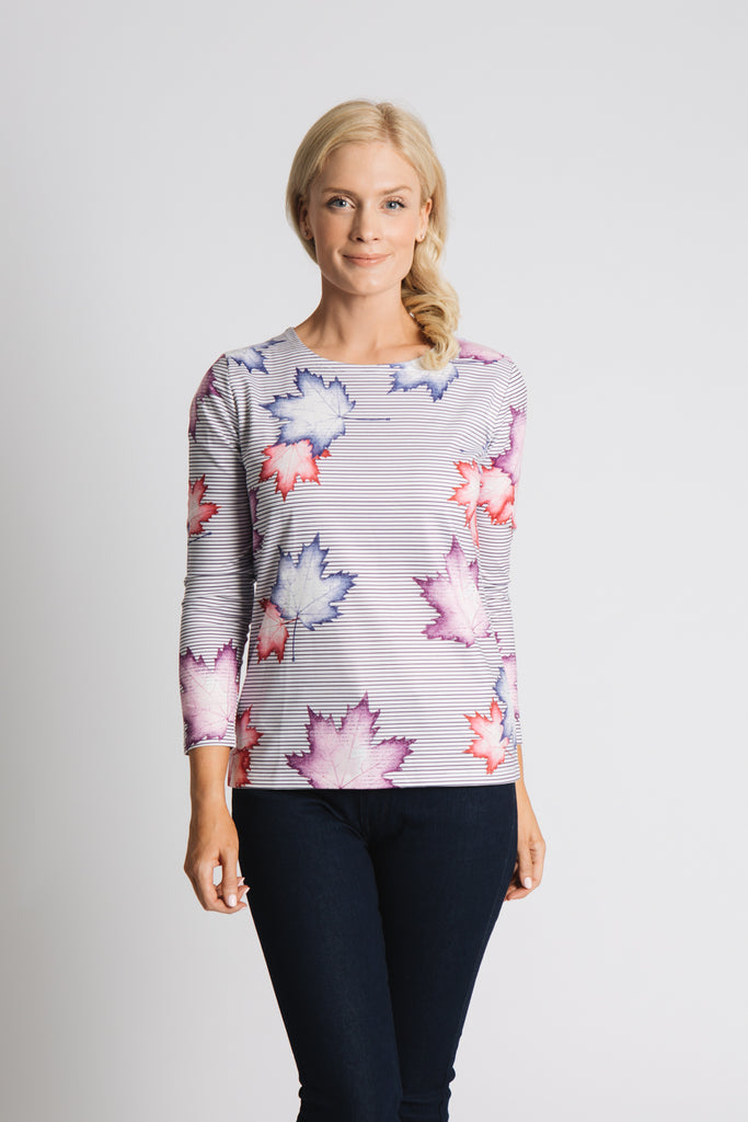 FALLING LEAF STRIPE PRINT TOP