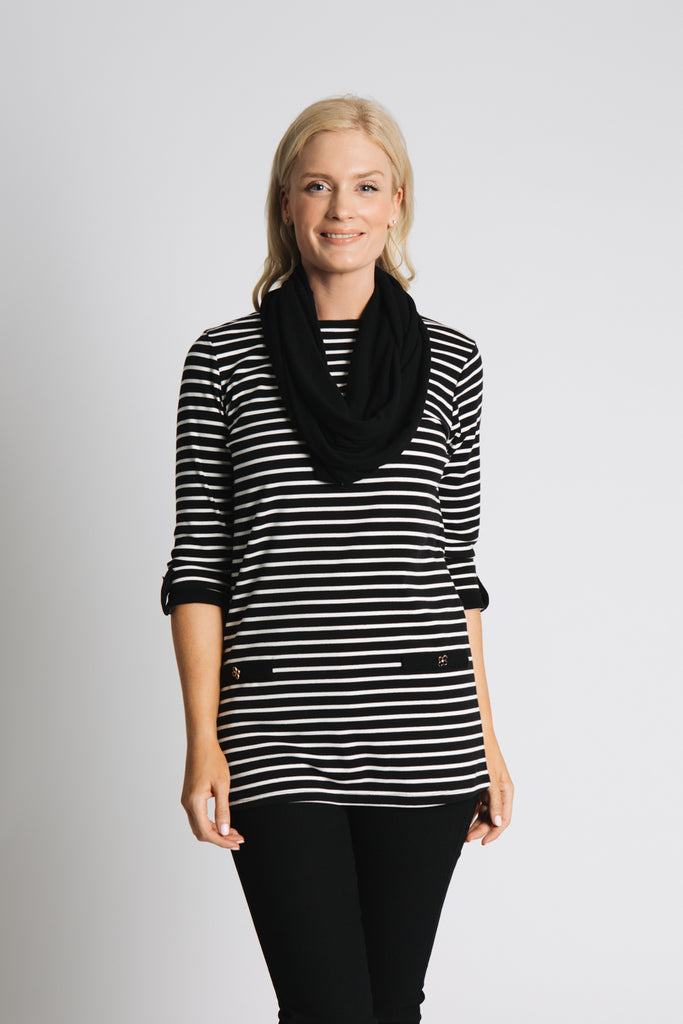 STRIPE TUNIC WITH SNOOD