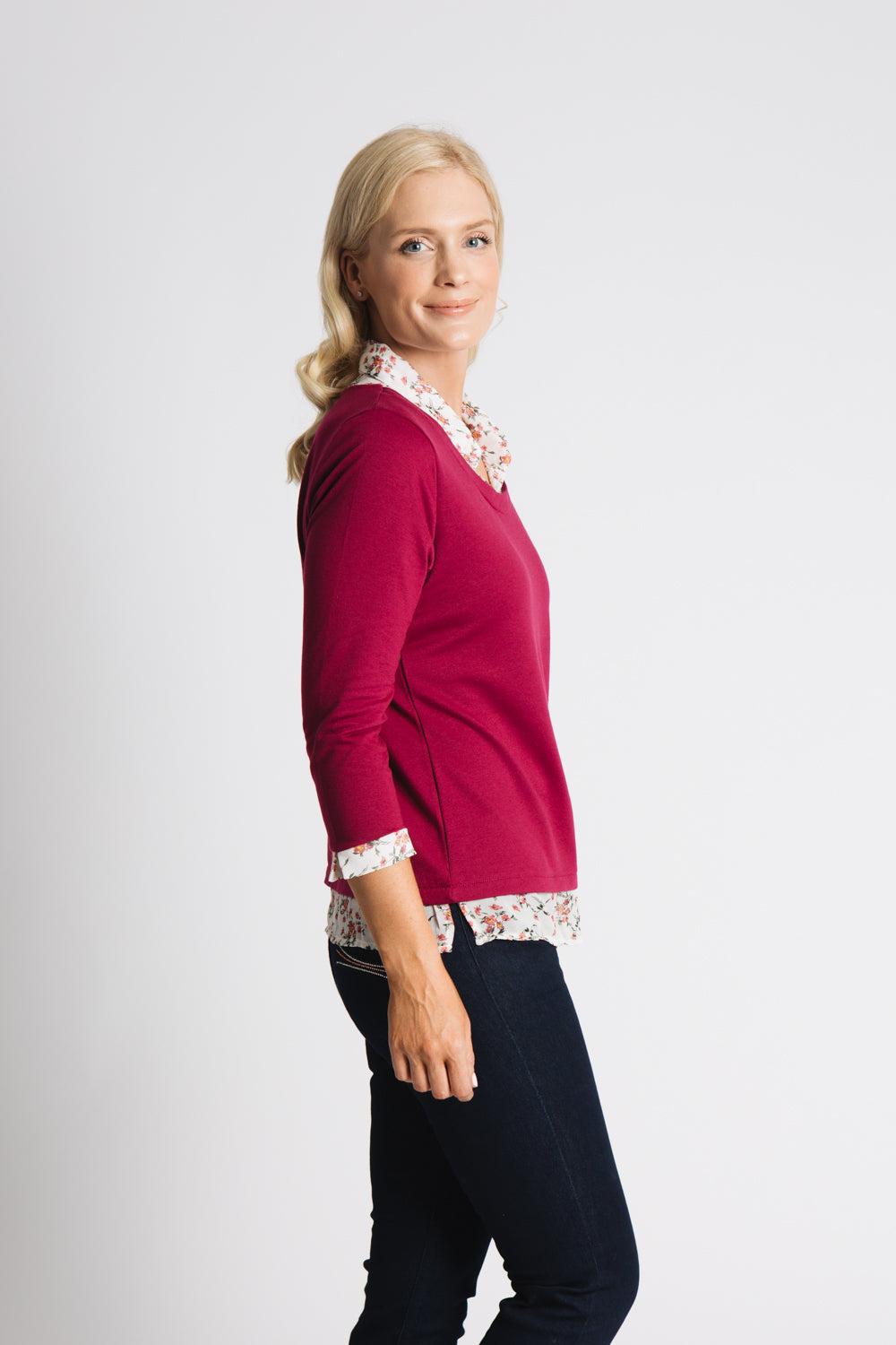 Woven collar, cuff and hem top