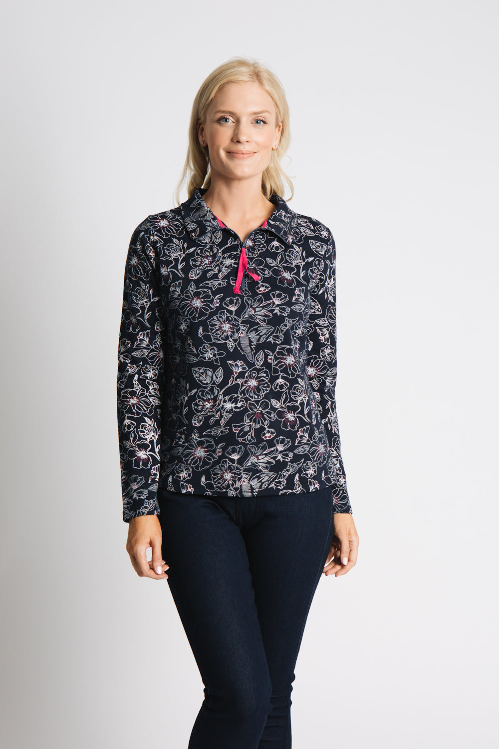 ALLOVER PRINTED 1/2 ZIP TOP