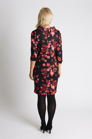 Portrait collar dress in Poppy print