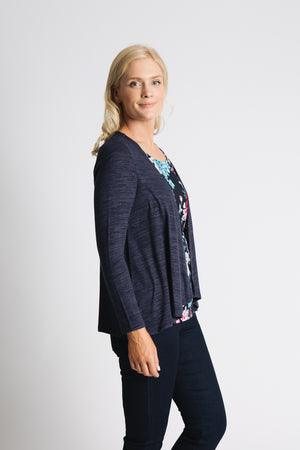 Draped cardigan with printed insert