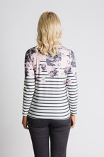 Floral and stripe long sleeve jersey top
