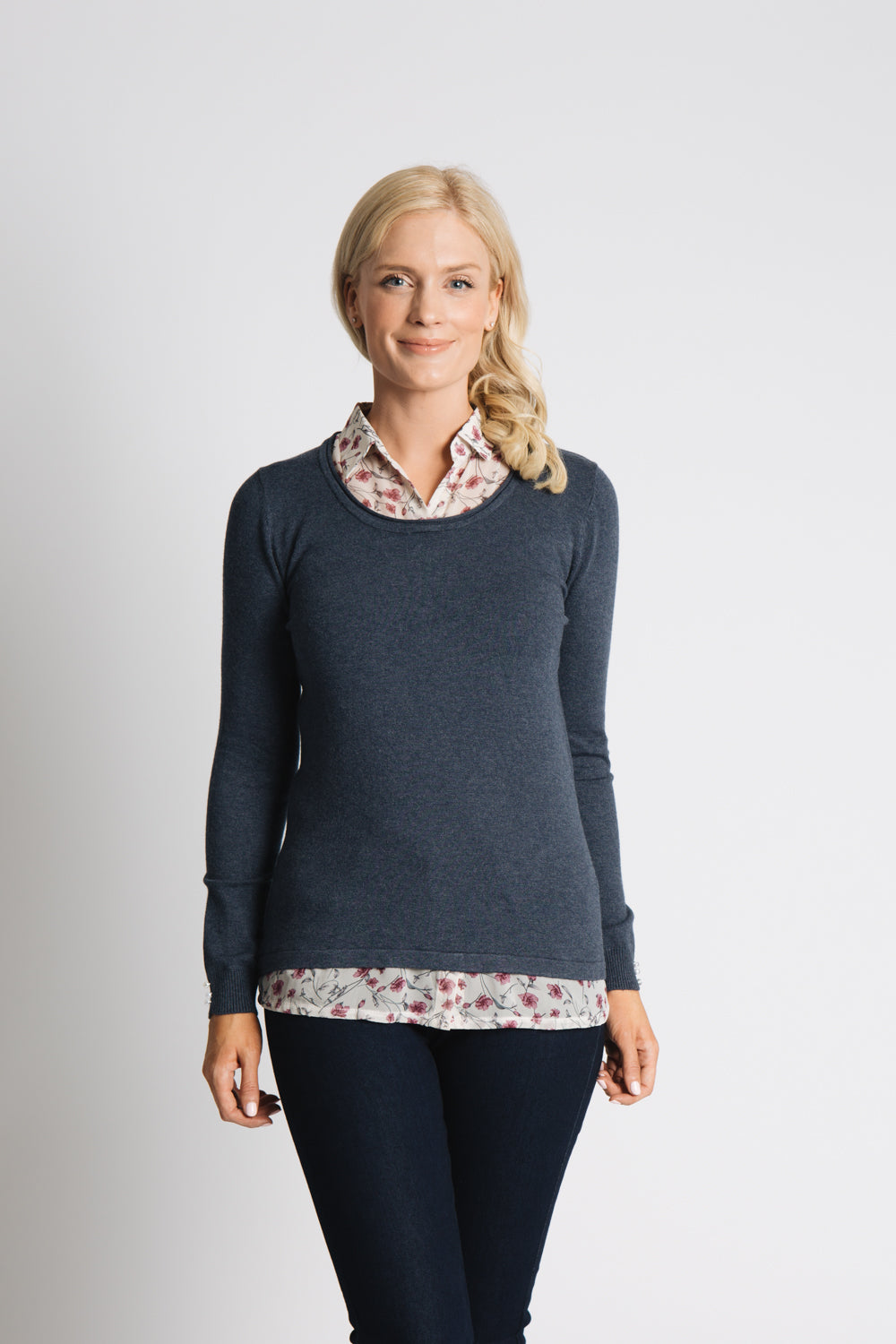 SWEATER WITH PRINTED CHIFFON SHIRT COLLAR AND TAIL DETAIL