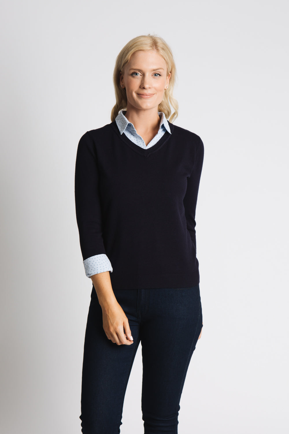 CLASSIC SWEATER WITH WOVEN COLLAR AND CUFF