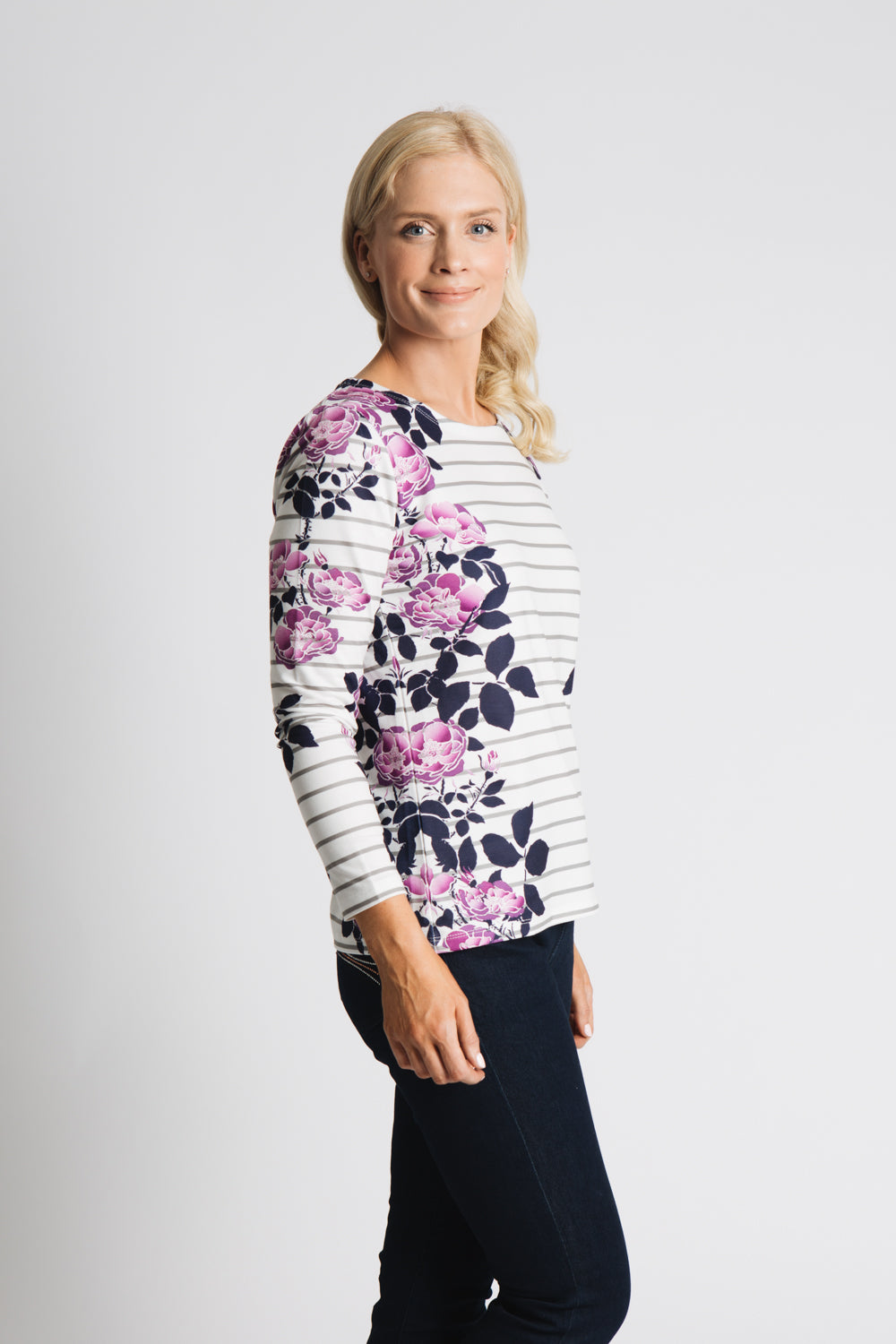 Stripe and floral long sleeve top