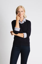 STRIPE AND DITSY SHIRT COLLAR AND CUFF SWEATER
