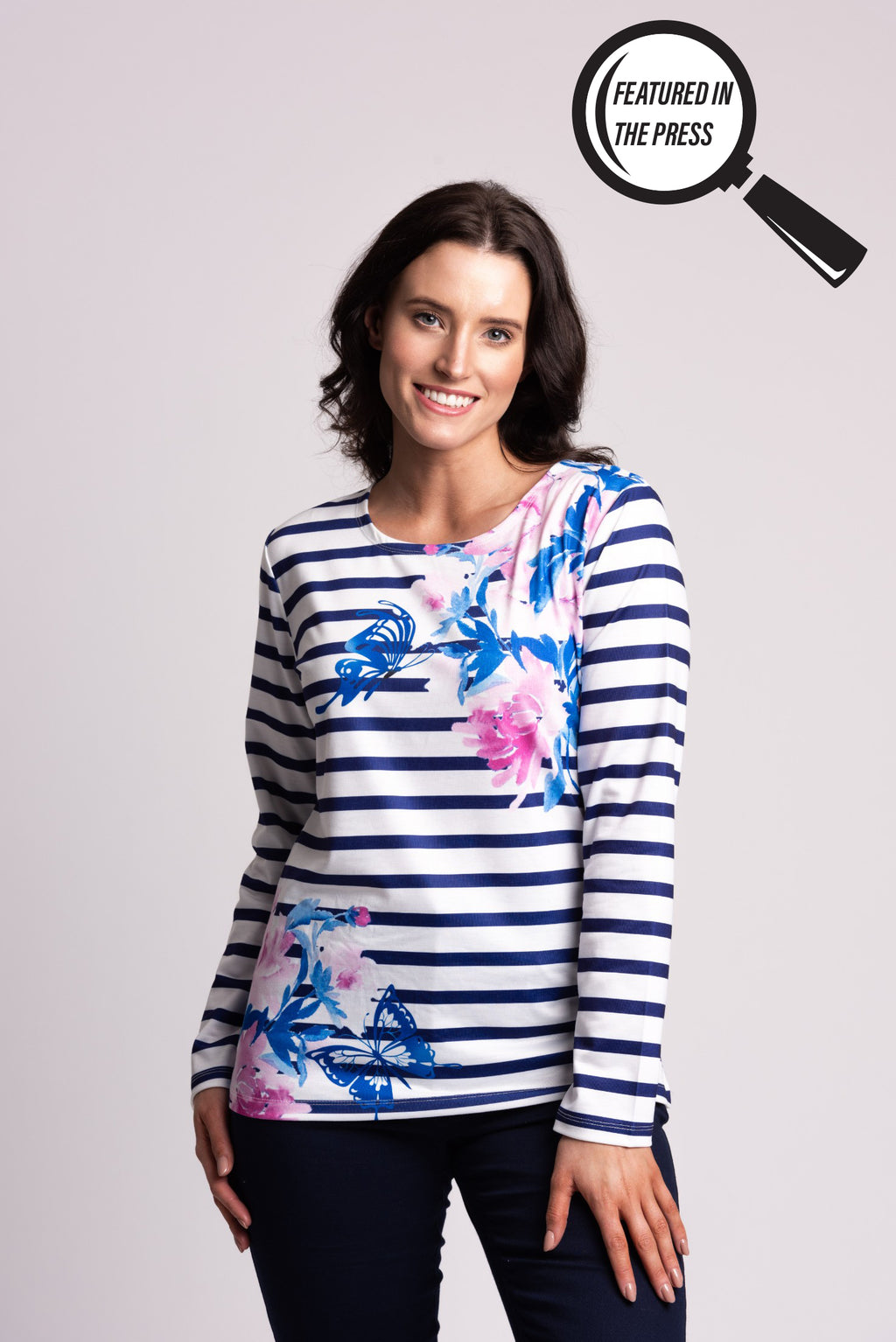 Stripe & Floral Print Long Sleeve Top
