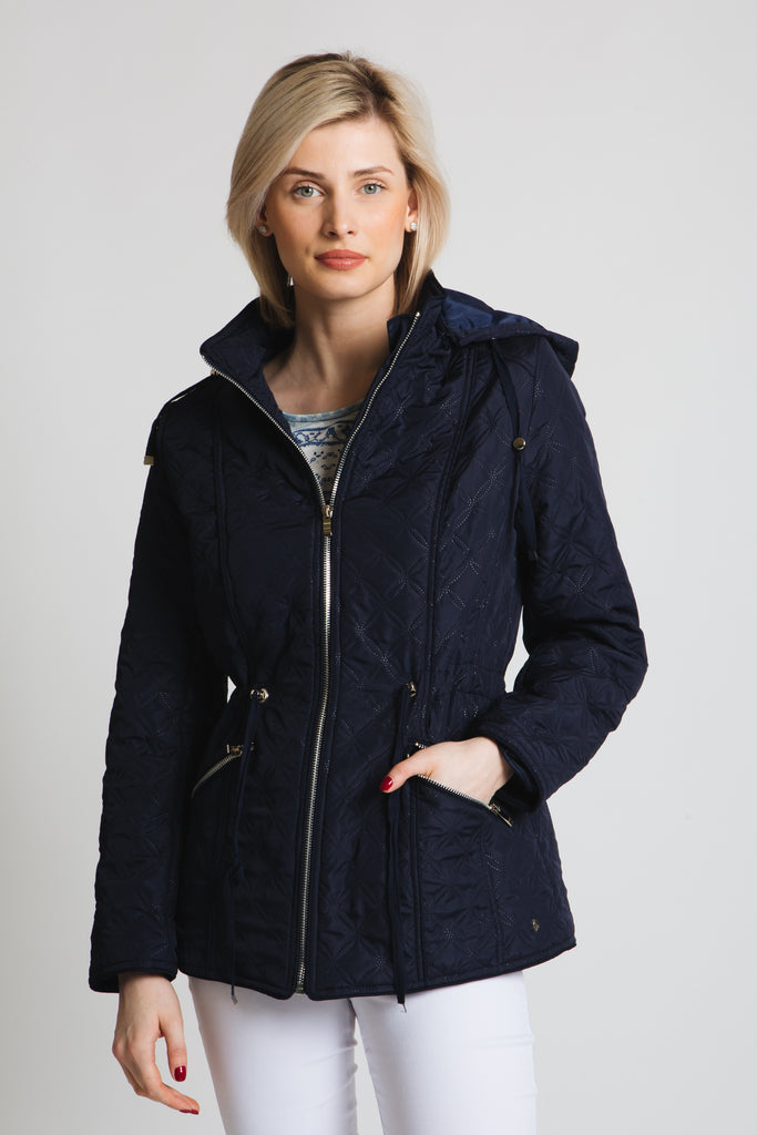 New style this season! Our embossed quilted jacket with hood and drawstring waist. Classic fit.