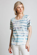 Painted stripe and floral print t-shirt with diamante. Our classic round neck, short sleeve fit