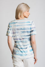 Painted stripe and floral print t-shirt