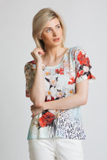 Vibrant floral and animal print burn out jersey t-shirt with diamante details